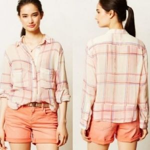 {Anthropologie} Holding Horses Plaid Button Top